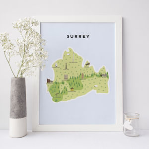 Map Of Surrey - new in prints & art