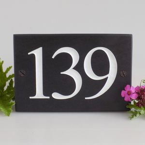 Personalised Slate Number Signs - home decorating