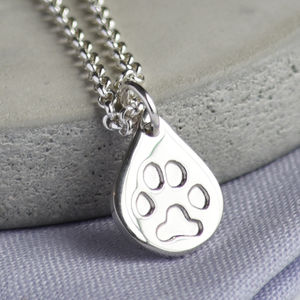 Personalised Pets Paw Print Silver Dewdrop Necklace