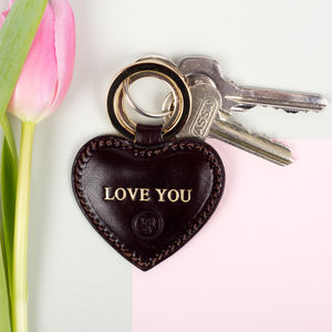 Personalised Leather Mother's Day Gift Key Ring