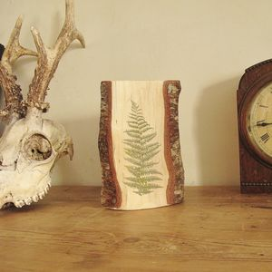 Fern Leaf Print On Woodland Wood - decorative accessories