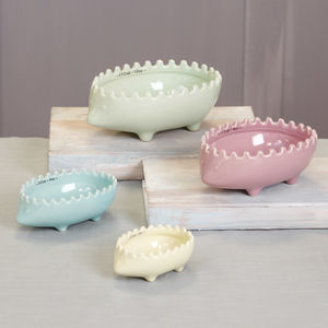 Set Of Four Hedgehog Detail Pastel Measuring Cups - storage & organising