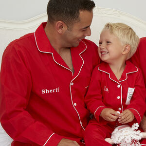 Men's Personalised Red Cotton Pyjamas