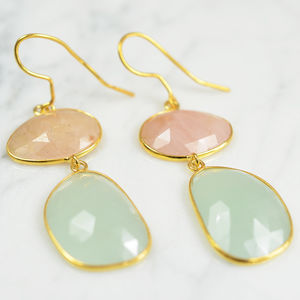 Talitha Earrings Honey Sapphire Aquamarine - earrings