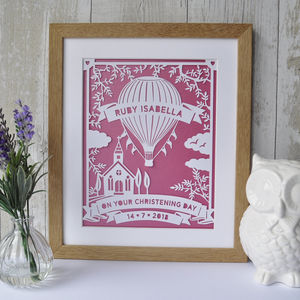 Hot Air Balloon Christening Print Or Papercut Art