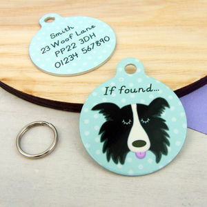 Border Collie Personalised Dog Name ID Tag - pet tags & charms