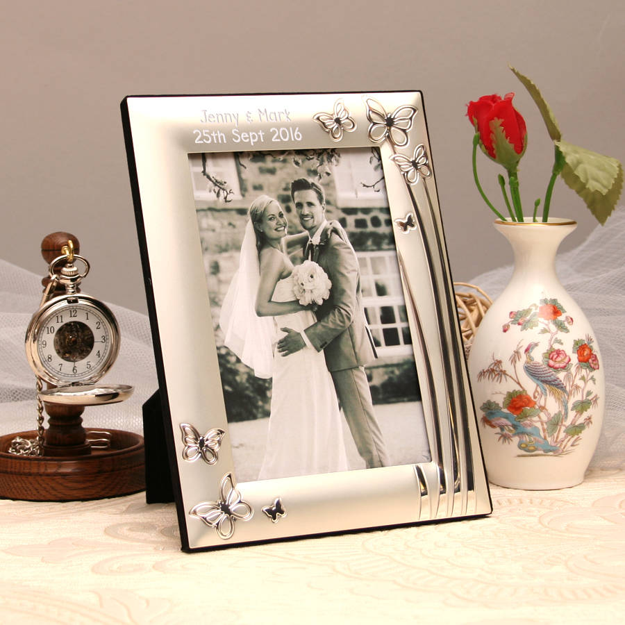Personalised Silver Photo Frame With Butterflies