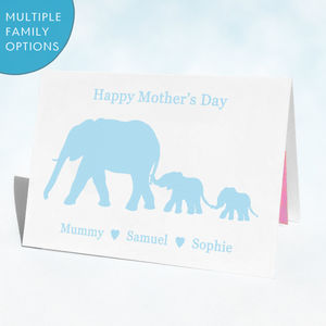 Personalised Elephants Mother's Day Card