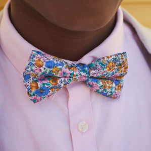 Blue Summer Floral Bow Tie - mens