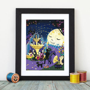 Night Time Print, Whimsical Art, Limited Edition Print