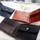 Solid Colour Mens Leather Wallet. 3rd Anniversary Gift