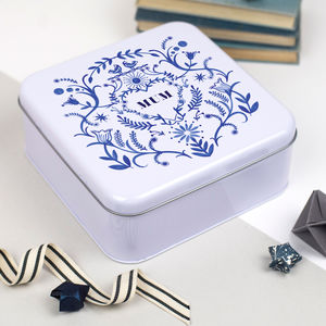 Personalised Blue And White Tin - tins, jars & bottles