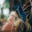 Dramatic Blue Feather Headpiece