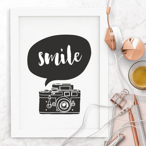 'Smile' Camera Typography Print - winter sale