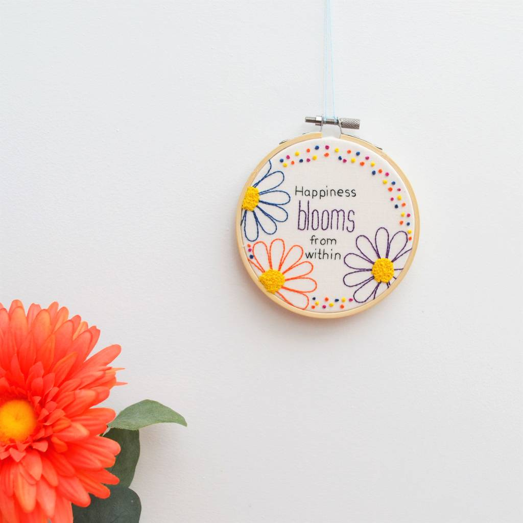 Floral Hand Embroidery Inspirational Hoop Art