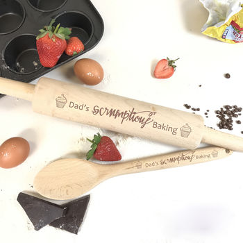Personalised Rolling Pin And Spoon Set 'Scrumptious'