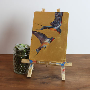 'The Soaring Swallows' Original Gilded Bird Painting