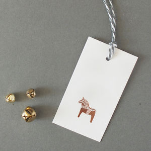 Rose Gold Christmas Gift Tags, Set Of Six