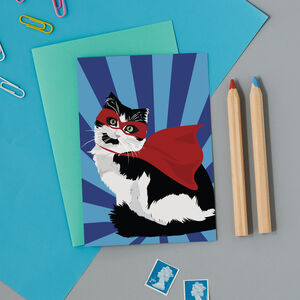 Cat Superhero Card