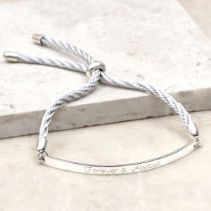 Personalised Sterling Silver And Silk Slider Bracelet - bracelets & bangles