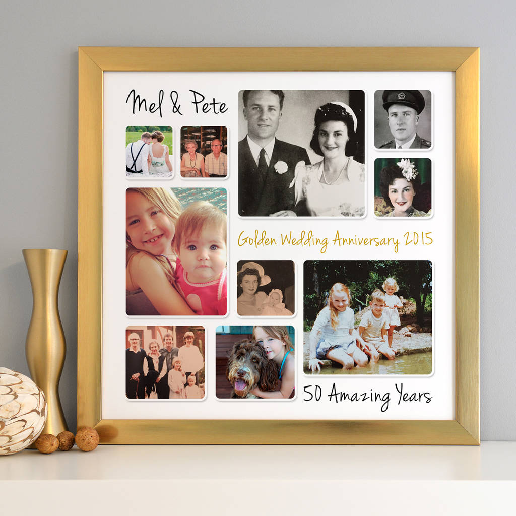 Personalised Golden Wedding Anniversary Photo Collage By Cherry Pete