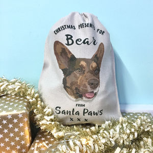 Pet Portrait Christmas Sack Personalised - stockings & sacks