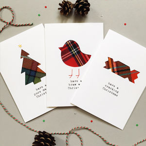 Three Handmade Scottish Tartan Christmas Cards - seasonal cards