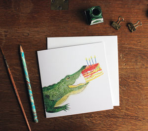 Croc And Cake Greetings Card