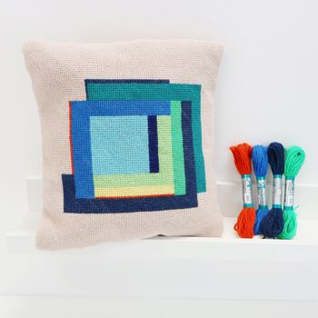 Modern Needlepoint Kit With Hand Painted Canvas