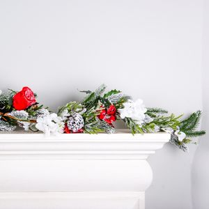 Snowy Fir Red Rose Christmas Garland - home accessories