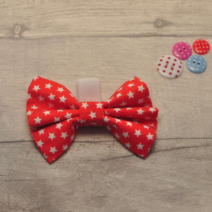 Red Star Slide On Collar Bow For Boy Or Girl Dogs