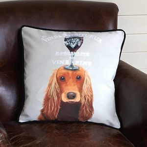 Cocker Spaniel Cushion, Dog Au Vin Wine Gift - what's new