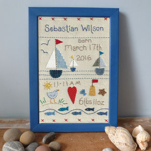 Embroidered Baby's Birthday Picture