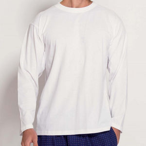Men's Long Sleeved T Shirt In White - men's fashion