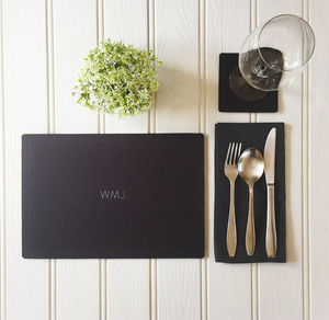 Monogrammed Wool Felt Table Mat - tableware
