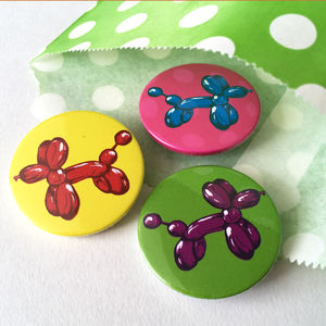 Balloon Dog Pin Badge Set - children's jewellery