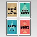 Art Deco Cycling Posters, Set Of Four Prints