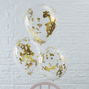Pack Of Five Gold Confetti Filled Clear Party Balloons - outdoor decorations
