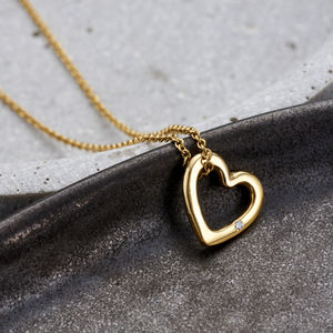 Diamond Heart Charm Necklace - necklaces & pendants