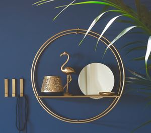 Circular Gold Shelf With Inset Mirror - mirrors