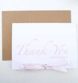 Pack Of Five Little Bow Thank You Cards