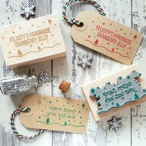 Personalised Christmas Snowy Scene Text Rubber Stamp