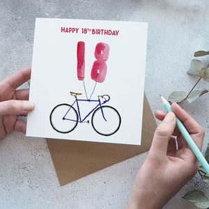 18th Birthday Bike With Balloons Card - birthday cards
