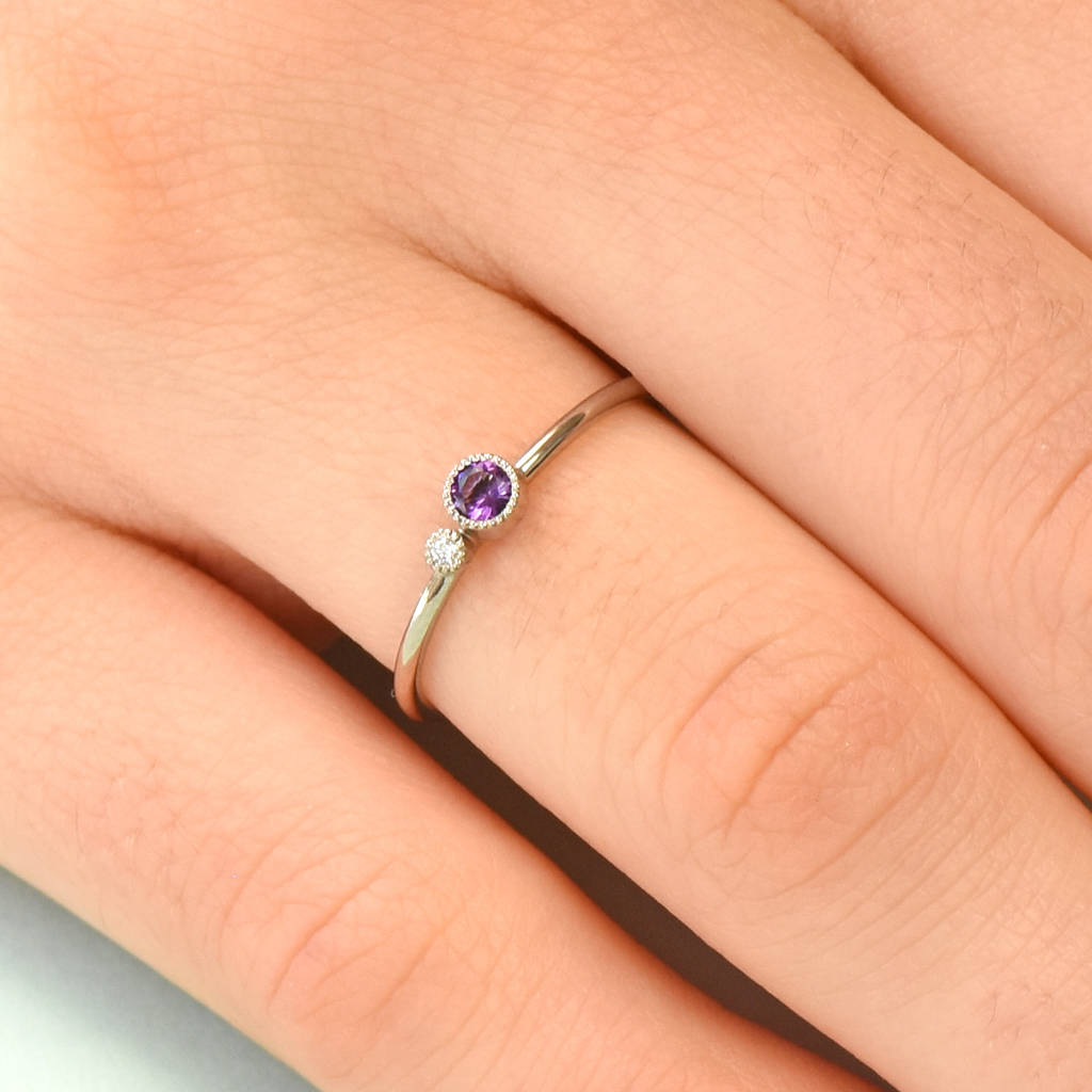 426bd37636b5d1 amethyst stacking ring, diamond accent, solid 18ct gold by lilia ...