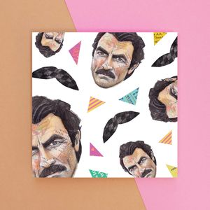 Selleck And Moustache Pattern Greetings Card