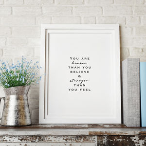 'You Are Braver Than You Think' Typography Print