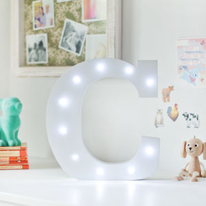 White Light Up Letters - children's lighting