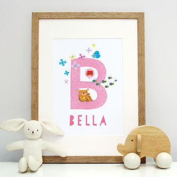 Personalised Child Name Print With Illustrations A To Z