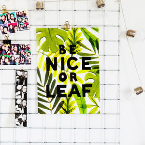 Be Nice Or Leaf Print - children's room