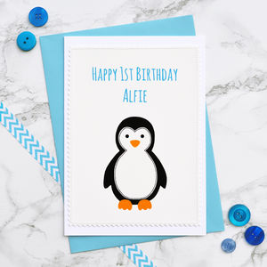'Penguin' Handmade Boys 1st Birthday Card